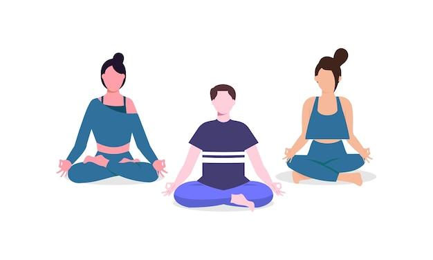 Zestaw ludzi medytujących ilustracja koncepcja