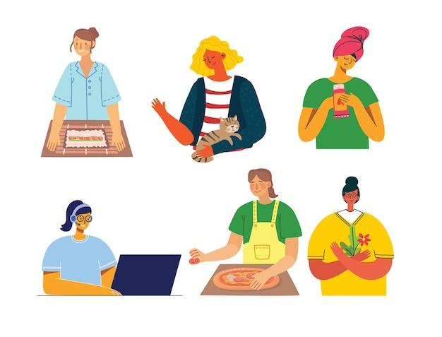Zestaw ludzi, mężczyzn i kobiet z różnymi znakami. obiekty graficzne do kolaży i ilustracji. nowoczesny kolorowy styl płaski.
