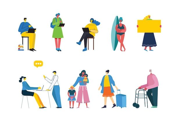 Zestaw ludzi, mężczyzn i kobiet z różnymi znakami. obiekty graficzne do kolaży i ilustracji.