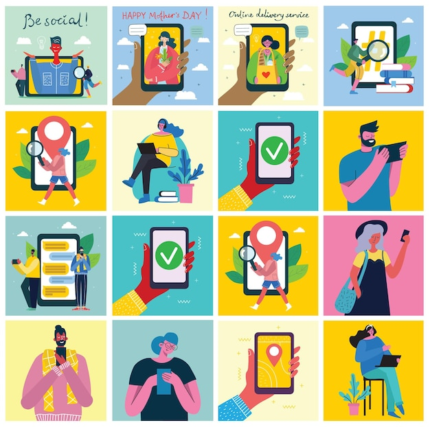 Zestaw ludzi, mężczyzn i kobiet z różnymi znakami. obiekty grafiki wektorowej do kolaży i ilustracji. nowoczesny kolorowy styl płaski.