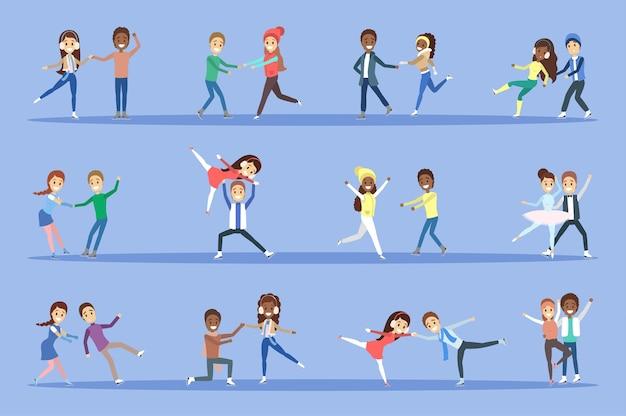 Zestaw ludzi na łyżwach. śliczne pary jeżdżą razem na łyżwach. aktywność zimowa i sport wyczynowy. ilustracja