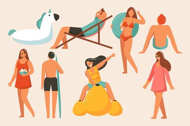 Zestaw ludzi na plaży