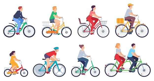 Zestaw ludzi na rowerze