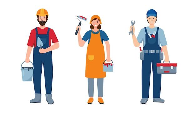 Zestaw ludzi naprawy lub malarz i budowniczy pracownik budowlany repaieman