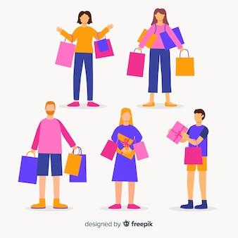Zestaw ludzi niosących torby na zakupy