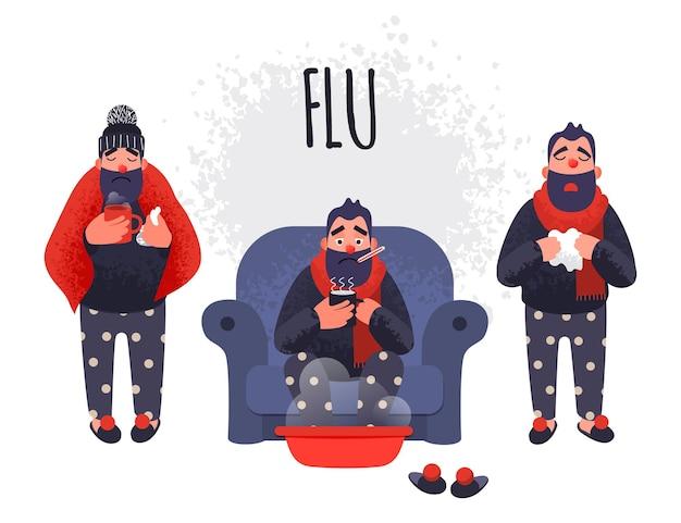 Zestaw ludzi o przeziębienie. chory wektor postaci męskiej grypy gorączki jest leczony w domu.