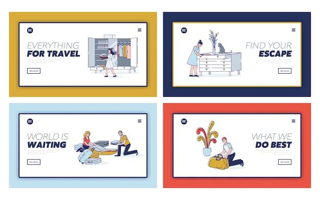 Zestaw ludzi pakujących rzeczy na przygotowania do wyjazdu na wakacje