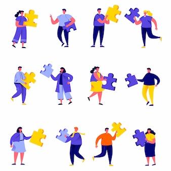 Zestaw ludzi płaskich łączących elementy układanki znaków