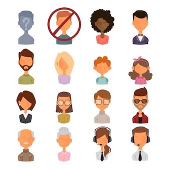 Zestaw ludzi portret twarz ikony stylu awatarów internetowych.
