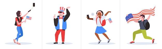 Zestaw ludzi rasy mix z flagami usa zabawy, 4 lipca obchody amerykańskiego dnia niepodległości.