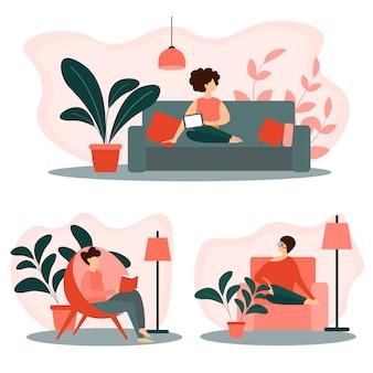Zestaw ludzi relaksu w domu. czas wolny, czas wolny
