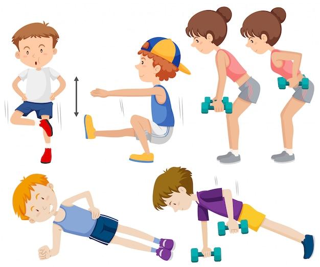 Zestaw ludzi robi ćwiczenia