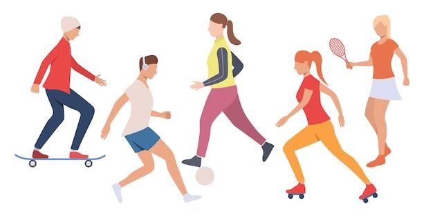 Zestaw ludzi spędzających aktywny czas wolny