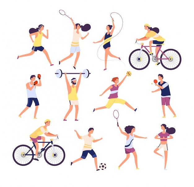 Zestaw ludzi sportu. osoby ćwiczące gimnastyczka, biegacz i tenisista, bokser i piłkarz. zestaw postaci z kreskówek