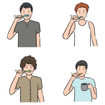 Zestaw ludzi szczotkujących zęby
