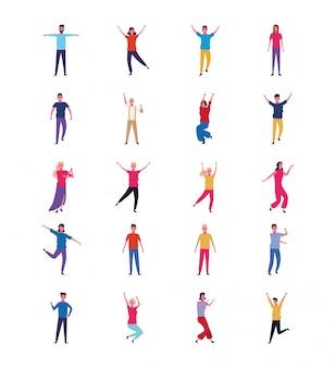 Zestaw ludzi tańczących i dobrze się bawiących
