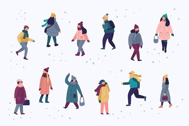 Zestaw ludzi ubranych w przytulne ubrania w zimie