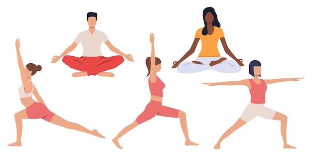 Zestaw ludzi uprawiających jogę
