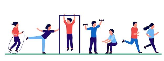 Zestaw ludzi uprawiających sport w płaskiej konstrukcji