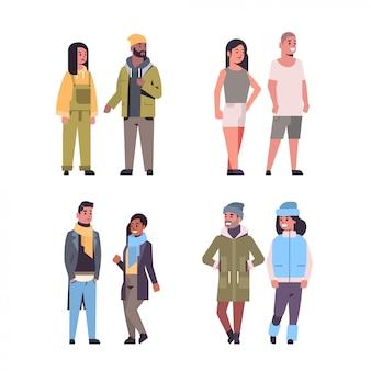 Zestaw ludzi w codziennych ubraniach stojących, stanowią pary rasy mieszanej chłopców i dziewcząt w ubraniach sezonowych płaskich na całej długości