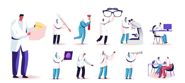 Zestaw ludzi w mundurze lekarza z narzędziami medycznymi i medycyną. małe męskie i żeńskie postacie gospodarstwa ogromne okulary, probówki, mikroskop na białym tle. ilustracja kreskówka wektor