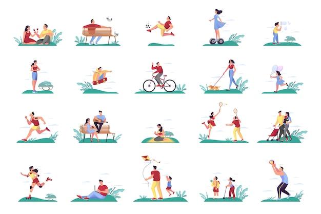 Zestaw ludzi w parku. mężczyzna i kobieta spędzają czas na świeżym powietrzu, jeżdżąc na rowerze i skuterze. koncepcja natury lato. ilustracja w stylu