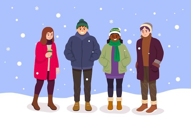 Zestaw ludzi w przytulnych ubraniach zimą