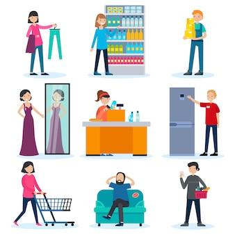 Zestaw ludzi w sklepie