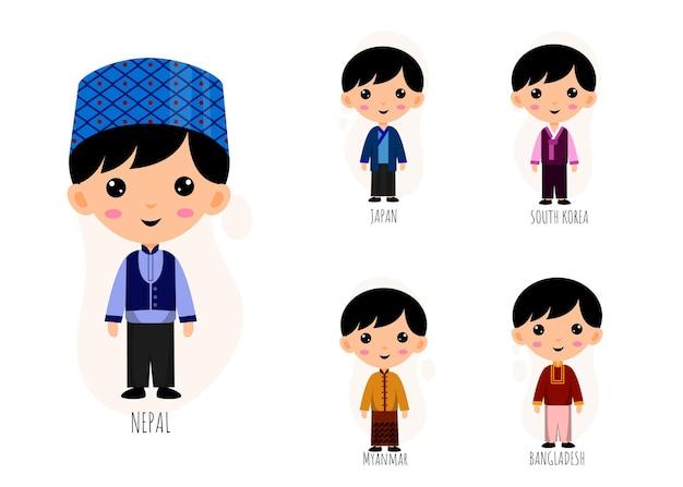 Zestaw ludzi w tradycyjne azjatyckie ubrania postaci z kreskówek, koncepcja kolekcji męskich strojów narodowych, izolowane płaskie ilustracja