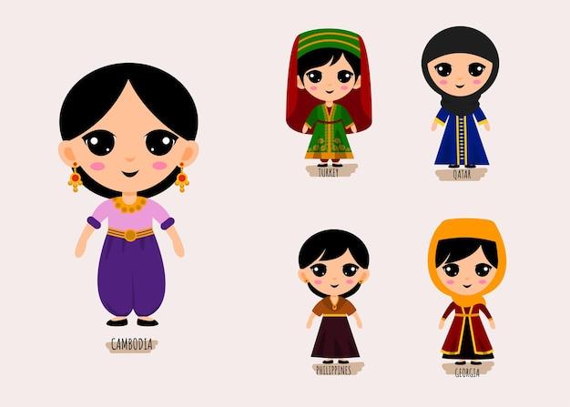 Zestaw ludzi w tradycyjne azjatyckie ubrania postaci z kreskówek, koncepcja kolekcji pięknych kobiecych strojów narodowych, ilustracja na białym tle płaskie