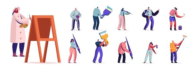 Zestaw ludzi z farbami i pędzlem. postacie męskie i żeńskie malowanie hobby lub remonty