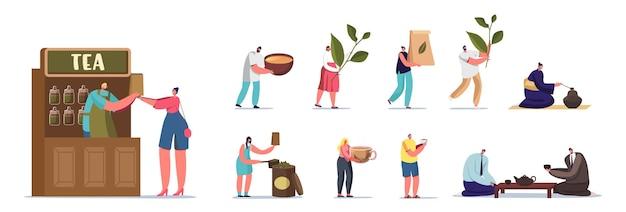 Zestaw ludzi z herbatą. męskie postacie kobiece picie, kupowanie i sprzedawanie gorącego napoju. chińska ceremonia parzenia herbaty, sklep detaliczny lub kawiarnia odwiedzających na białym tle. ilustracja kreskówka wektor