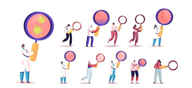 Zestaw ludzi z lupą. małe męskie i żeńskie postacie posiadające ogromny lupę do badań informacji i dochodzenia naukowego na białym tle. ilustracja kreskówka wektor