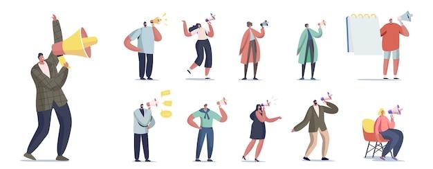 Zestaw ludzi z megafonem. męskie i żeńskie znaki krzyczą do głośnika na białym tle. komunikacja, reklama alertowa, propaganda, public relations. ilustracja kreskówka wektor