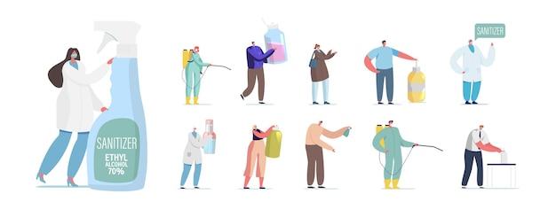 Zestaw ludzi z odkażaczami. małe męskie i żeńskie postacie z ogromnymi antybakteryjnymi butelkami z płynem, mydłem dezynfekującym, kombinezonem hazmat lub sprayem na białym tle. ilustracja kreskówka wektor