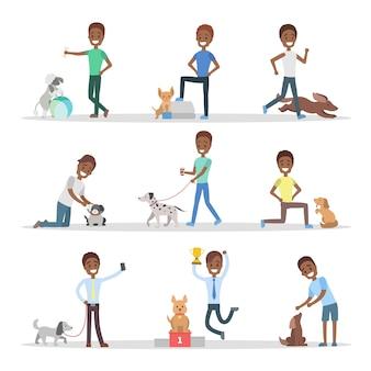 Zestaw ludzi z psami.