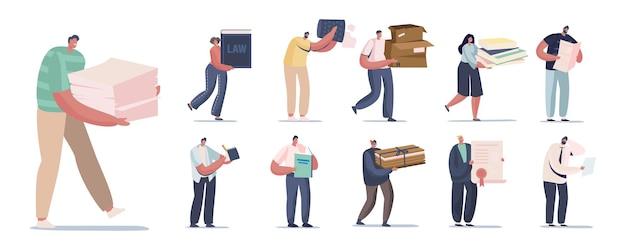 Zestaw ludzi z różnymi dokumentami. męskie i żeńskie znaki gospodarstwa stos makulatury, pudełka kartonowe i książki, dokument certyfikatu na białym tle. ilustracja kreskówka wektor