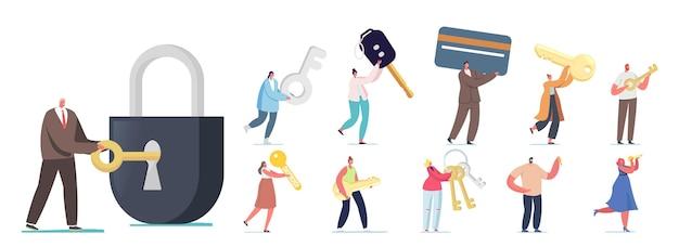 Zestaw ludzi z różnymi kluczami. małe męskie i żeńskie postacie trzymające kartę elektroniczną, otwórz ogromny zamek, cyfrowy klucz do wirtualnego portfela na białym tle. ilustracja kreskówka wektor