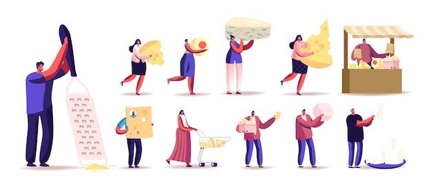 Zestaw ludzi z różnymi rodzajami sera. małe męskie i żeńskie postacie posiadające ogromne kawałki produktów mlecznych, sprzedawać na rynku, używać tarka na białym tle. ilustracja kreskówka wektor