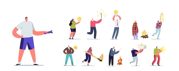 Zestaw ludzi z różnymi światłami. małe postacie męskie i żeńskie posiadające ogromną żarówkę, płonący mecz i świeca, brylant lub gwiazda blask na białym tle. ilustracja kreskówka wektor