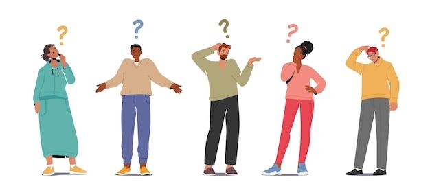 Zestaw ludzi zadających pytania, szukających informacji, postaci męskich i żeńskich ze znakami zapytania nad głową