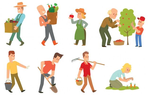 Zestaw ludzi zbiorów ogrodowych.