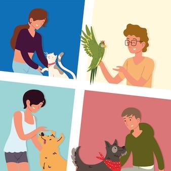 Zestaw ludzi ze zwierzętami