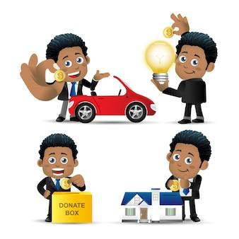 Zestaw ludzi zestaw afrykańskiego biznesmena