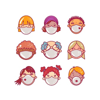 Zestaw ludzkich awatarów twarze z maskami medycyny