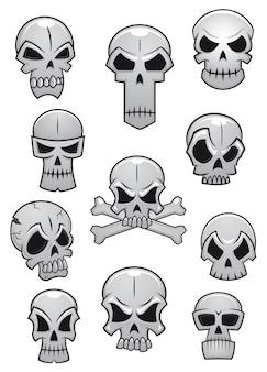 Zestaw ludzkich czaszek halloween