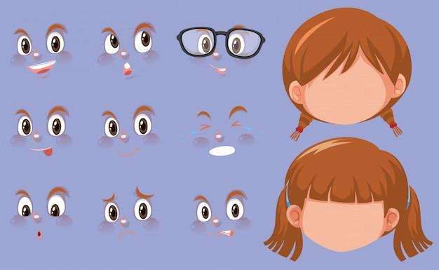 Zestaw ludzkich głów i różnych wyrazów twarzy