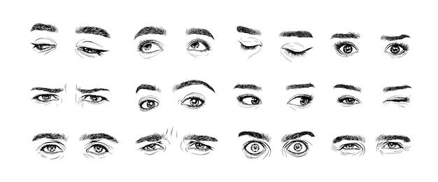 Zestaw ludzkich oczu w stylu tuszu artystycznego