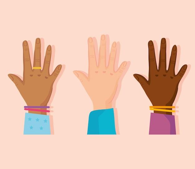 Zestaw ludzkich otwartych rąk