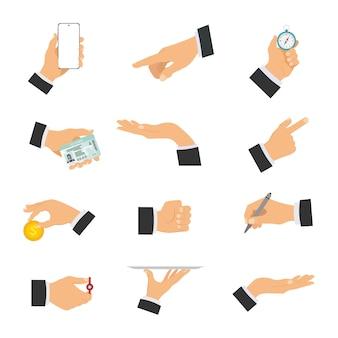 Zestaw ludzkich rąk pokazujących różne gesty.